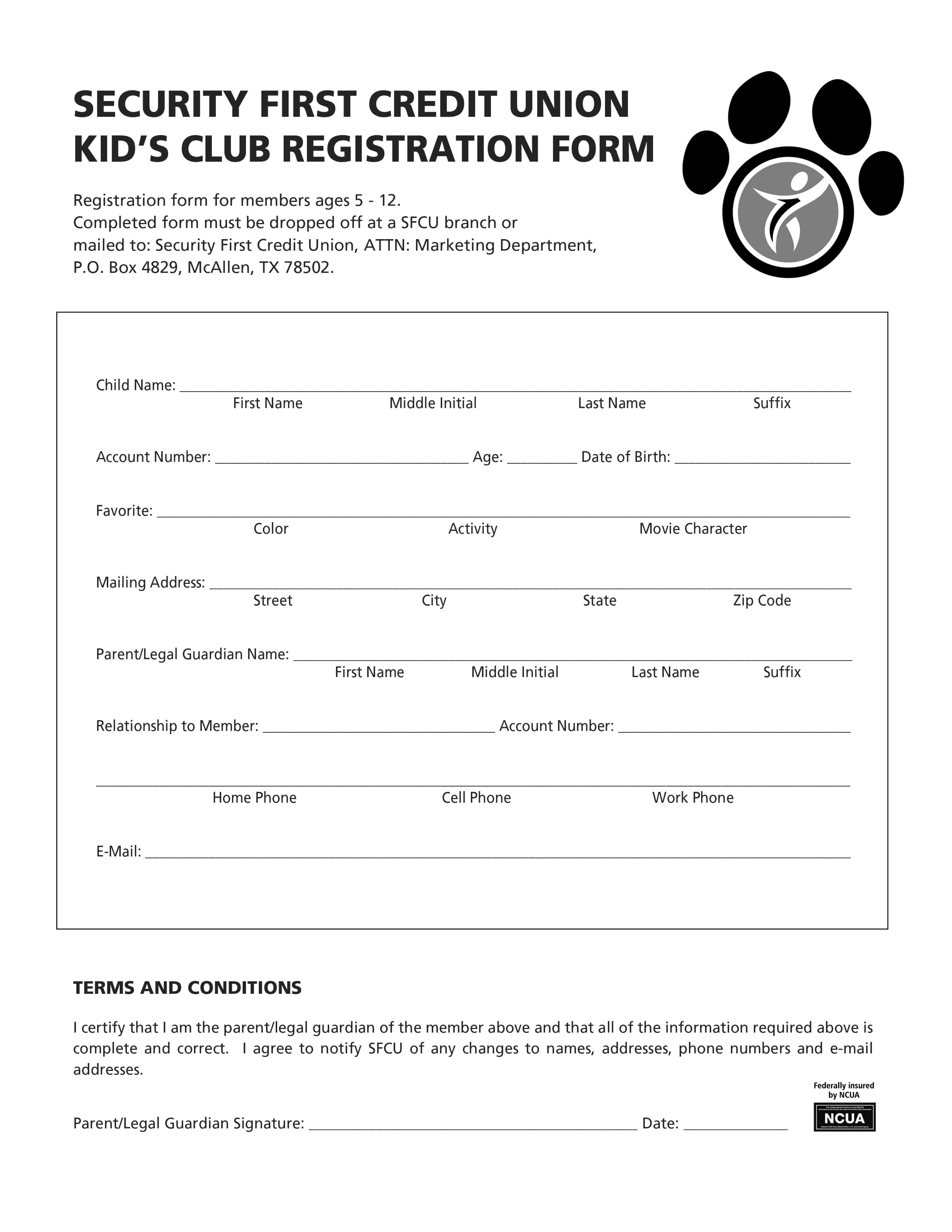 Kids Club- Registration form