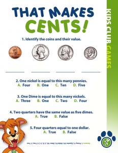 Kids Club Games- Coin value
